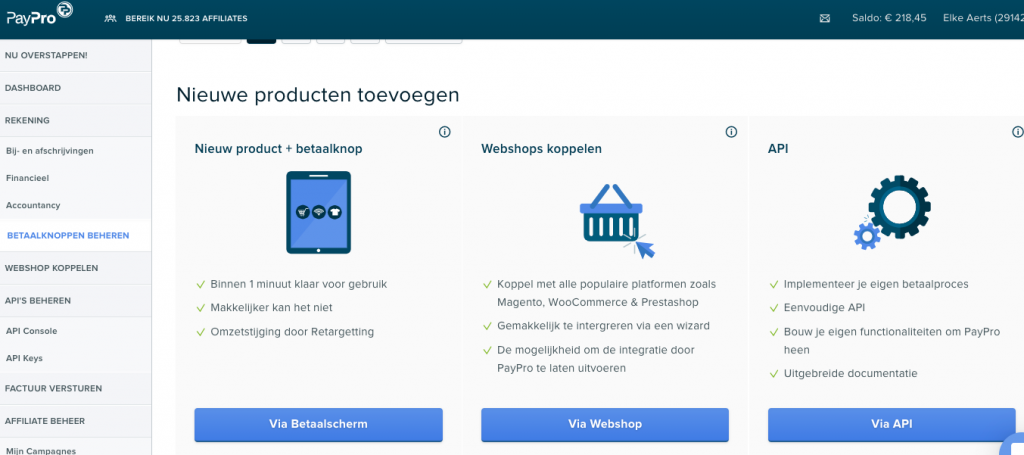 Product toevoegen in paypro