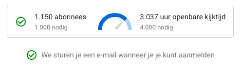 Drempel voor advertenties van Youtube: 1000 abonees en 4000 kijkuren