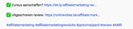 Hashtags Youtube beschrijving.