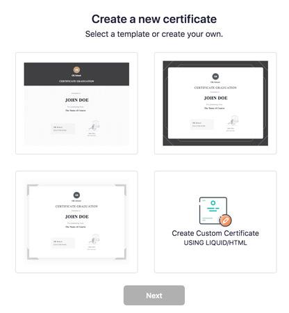 Certificaat aanmaken in Teachable